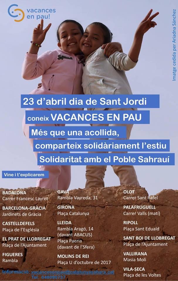 ✌️ 🇪🇭 @saharacatalunya  : Per Sant Jordi, acosta't a algun dels punts on t'informarem del projecte VACANCES EN PAU