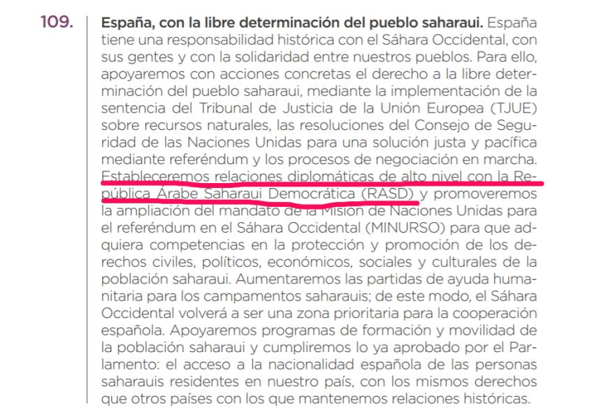 Podemos se compromete a legalizar el acceso a la nacionalidad española de las personas saharauis residentes en nuestro país (texto original del programa)
