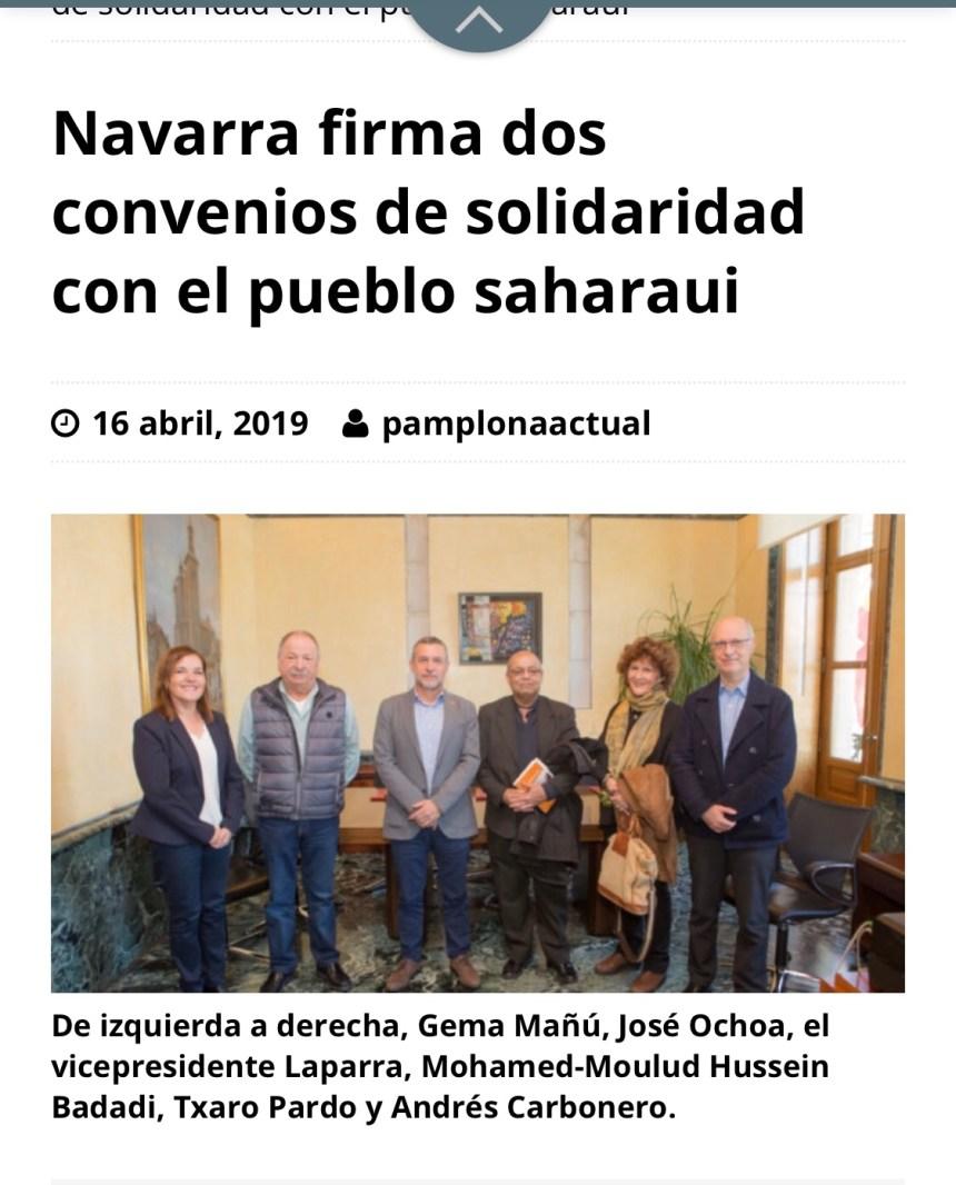 Navarra firma dos convenios de solidaridad con el pueblo saharaui –