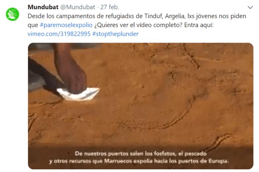 Mundubat  / Desde los campamentos de refugiadxs saharuis, lxs jóvenes nos piden que  #paremoselexpolio en el #SaharaOccidental #stoptheplunder 