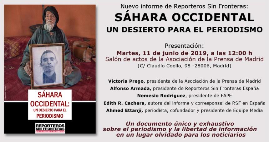 [CONVOCATORIA 11.6.19 12h] Reporteros Sin Fronteras presenta el informe 'Sáhara Occidental, un desierto para el periodismo' :: Reporteros Sin Fronteras