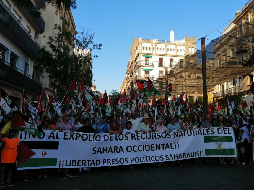 En #Sevilla hoy se grita por la libertad del #Sáhara Occidental y por su representante legal el Frente Polisario! #MarchaporlaPaz