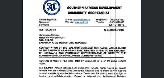 SADC Executive Secretary re-affirms commitment to solidarity with SADR to ensure its right to self-determination and freedom | Sahara Press Service