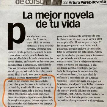Arturo Pérez-Reverte compara el hecho de acabar un librocon «esos niños saharauis que, tras pasar una larga temporada con familias de acogida europeas, deben regresar a la dura realidad del desierto y los campos de refugiados»