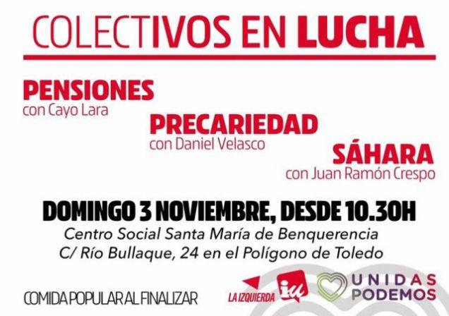 Izquierda Unida celebrará este domingo un acto con colectivos en lucha en Toledo – 29/10/2019 Región | Diario La Comarca de Puertollano