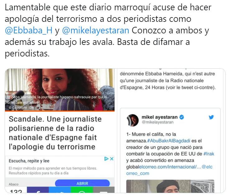 Diario marroquí difama a los periodistas Ebbaba Hameida y Mikel Ayestaran… ¡muestras de solidaridad!