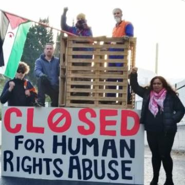 "New Zealanders block entrance to Ravensdown to protest against import of ""blood phosphate"" from occupied Western Sahara 