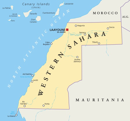 Mapa del Sáhara Occidental.