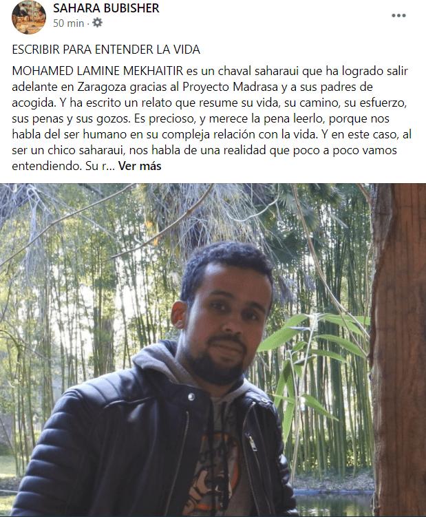 ESCRIBIR PARA ENTENDER LA VIDA   MOHAMED LAMINE MEKHAITIR es un chaval saharaui que ha logrado salir adelante en Zaragoza gracias al Proyecto Madrasa y a sus padres de acogida