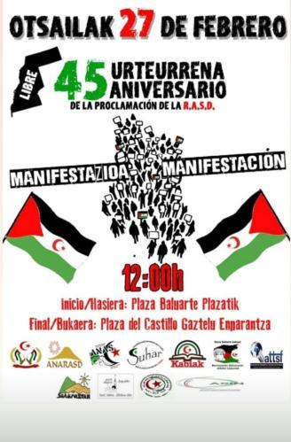Convocan una manifestación el sábado en Pamplona en apoyo al pueblo saharaui – Diario de Noticias