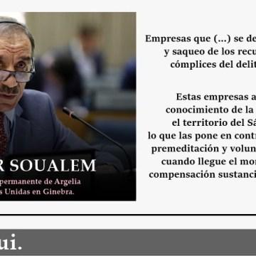 Argelia denuncia la complicidad de las empresas que saquean el Sáhara Occidental ocupado con el delito de colonización