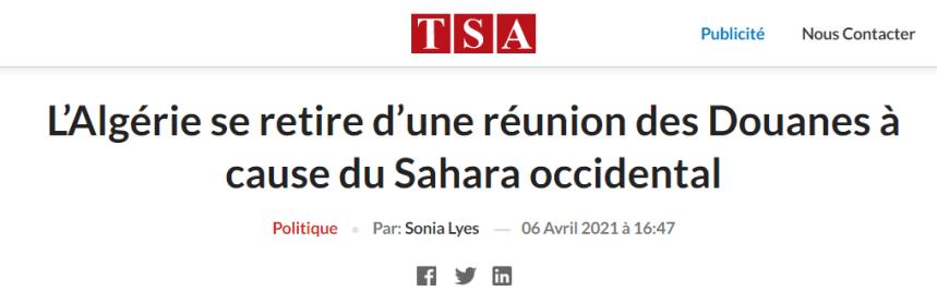 L'Algérie se retire d'une réunion des Douanes à cause du Sahara occidental – TSA