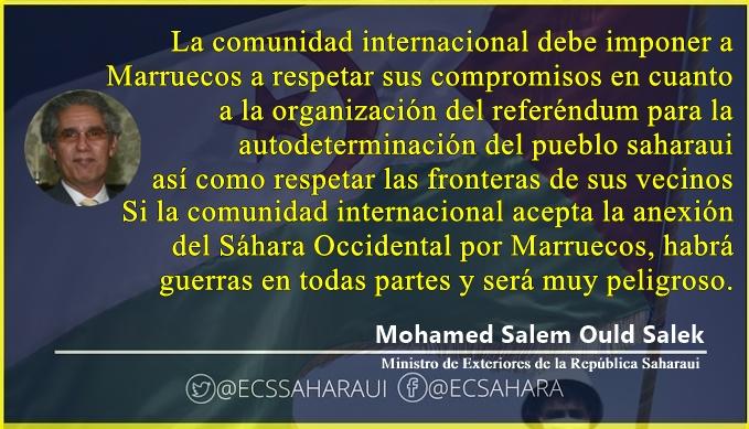 Exteriores de la RASD: La comunidad internacional debe imponer a Marruecos respetar sus compromisos firmados y las fronteras de sus vecinos