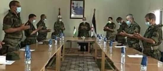 Brahim Ghali preside una reunión del Estado Mayor del Ejército de Liberación Saharaui