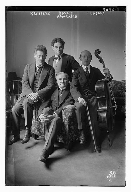 Fritz_Kreisler,_Harold_Bauer,_Pablo_Casals,_and_Walter_Damrosch_at_Carnegie_Hall_on_March_13,_1917