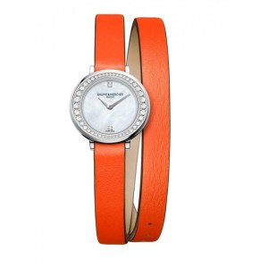 Petite Promesse 10288 Diamond, Stainless Steel & Wraparound Leather Strap Watch