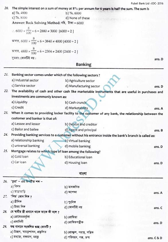 Latest bank exam result