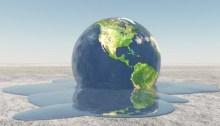 Représentation d'un globe qui fond en eau