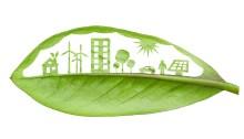 Image d'une ville au développement durable sur une feuille