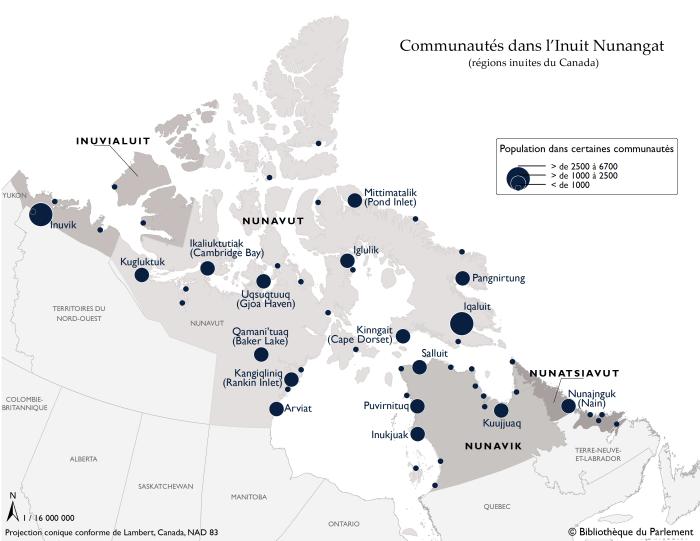 Sources : Carte préparée par la Bibliothèque du Parlement, Ottawa, 2016, à l'aide de données de l'Inuit Tapiriit Kanatami. Inuit Nunagaat Simplified. Échelle non fournie. Maps of Inuit Nunangat (Inuit Regions of Canada). (Consulté le 12 décembre 2016); Affaires autochtones et du Nord Canada (AANC). Localisation des collectivités inuites. Gatineau, Québec : AANC, 2016. Statistique Canada. Recensement de 2011 - Fichier des limites, no de catalogue : 92-160-X. Le logiciel suivant a été utilisé : Esri, ArcGIS, version 10.3.1. Contient de l'information assujettie à l'Entente de licence ouverte de Statistique Canada et à la Licence du gouvernement ouvert - Canada.