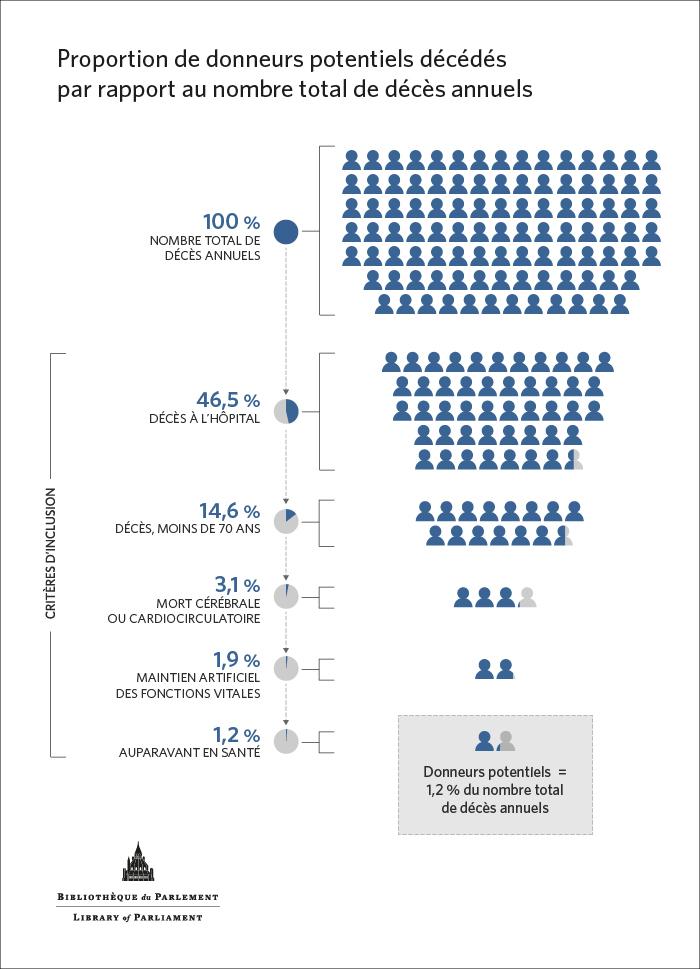 Infographie : Donneurs potentiels = 1,2 % du nombre total de décès annuels