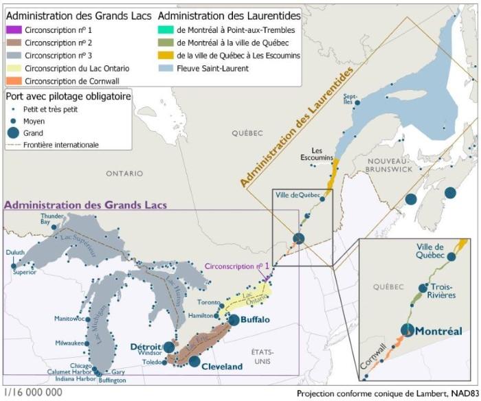 Cette carte montre une agglomération importante de petits et de très petits ports assujettis au pilotage obligatoire autour des Grands Lacs et le long du fleuve Saint-Laurent. Le lac Supérieur compte le plus faible nombre de ports. Les États-Unis englobent généralement un nombre accru de ports. Les ports de Thunder Bay, de Windsor, de Hamilton, de Toronto, de Montréal, de Trois-Rivières et de Québec, d'envergure moyenne à grande, sont assujettis au pilotage obligatoire.