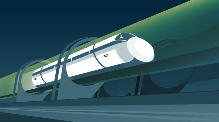 Cette illustration représente un Hyperloop surélevé sur des pylônes.