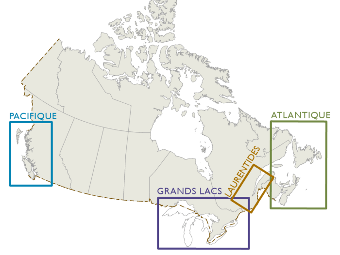 Carte affichant les quatre administrations de pilotage au Canada : Pacifique, Grands Lacs, Laurentides et Atlantique.
