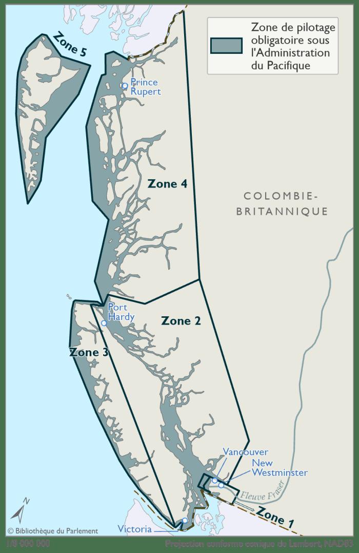 Cette carte illustre les zones de pilotage obligatoire sous l'autorité de l'Administration de pilotage du Pacifique, telles que définies dans la Loi sur le pilotage. Les zones de pilotage obligatoire se trouvent dans les eaux canadiennes de la province de Colombie-Britannique et ses environs. L'Administration de pilotage du Pacifique compte cinq zones de pilotage obligatoire désignées. Elles sont représentées sur la carte en bleu et délimitées par un contour bleu foncé.