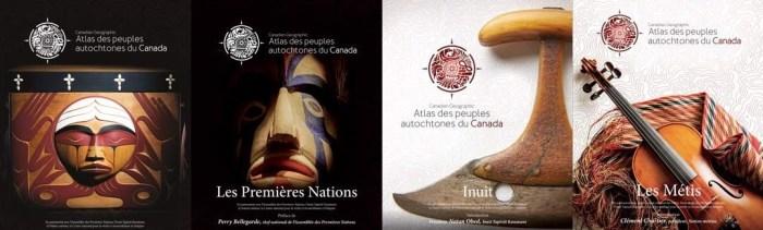 Ces quatre illustrations ornent la couverture de chaque volume de l'Atlas des peuples autochtones du Canada, dont voici les titres : La Commission de vérité et réconciliation, Les Premières Nations, Inuit et Les Métis.