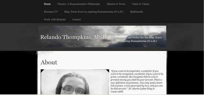 Screenshot from RelandoThompkins.com's homepage