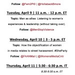 2013 International Street Harassment Awareness Week Twitter Chat Schedule