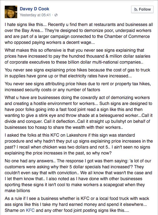 Davey D's response to kfc location blaming workers for increase in prices.