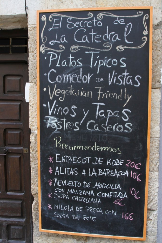 Restaurant menu, Cuenca, Castilla-La Mancha, Spain