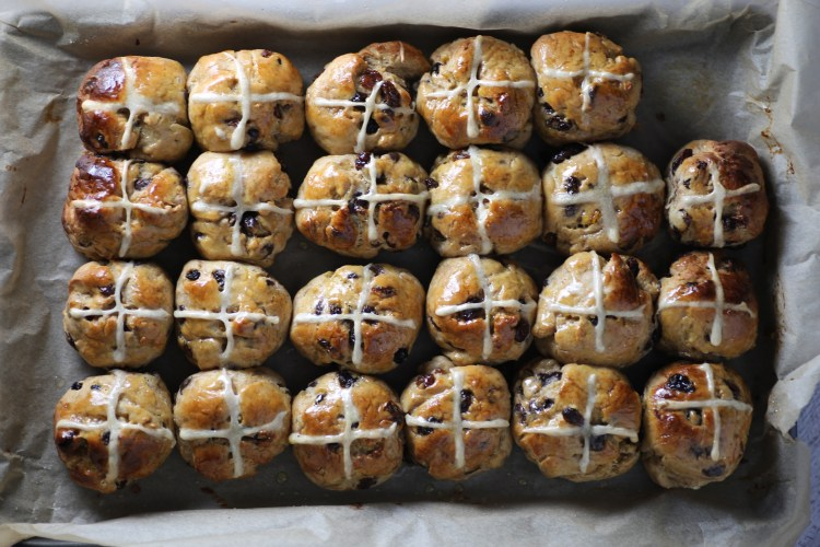 Mini dark chocolate and orange hot cross buns