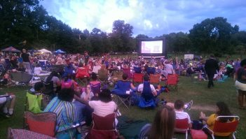 Something different in Elmington Park: outdoor movies projected on an inflatable screen