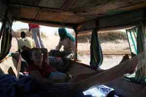 Carola in the hammock in Niger river, Mali (2011-11-23)