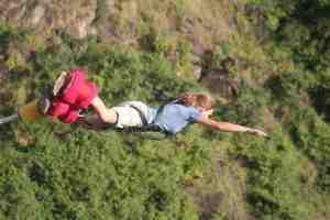 Carola bungee jumping in Victoria Falls, Zimbabwe (2012-04)