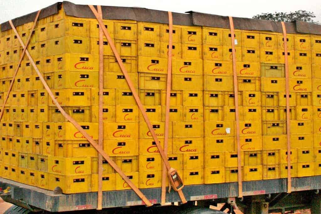 Yellow boxes in a truck, Angola (2012-02)
