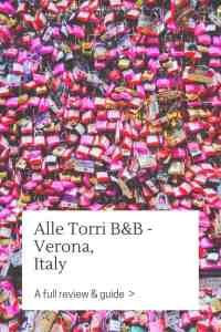 The Alle Torri B&B in Verona was recommended to me by friends. It's not super-central but a great base to explore the city of Romeo & Juliet.