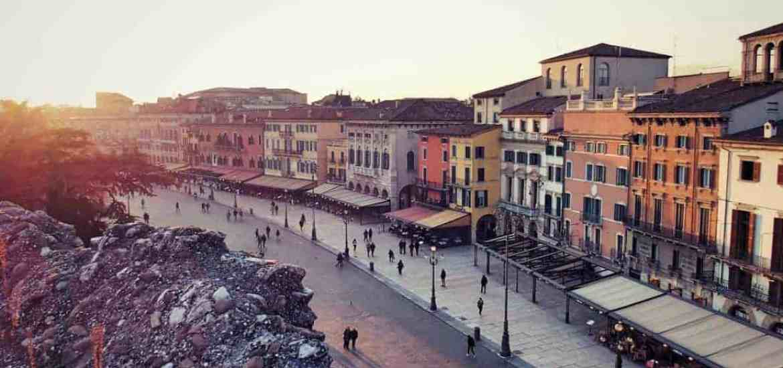 Sunset outside the arena, Verona, Veneto, Italy (2016-01-21)