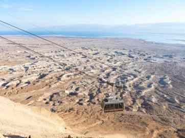 The cable car with Dead Sea in the background at Masada National Park, Israel (2017-01-03)