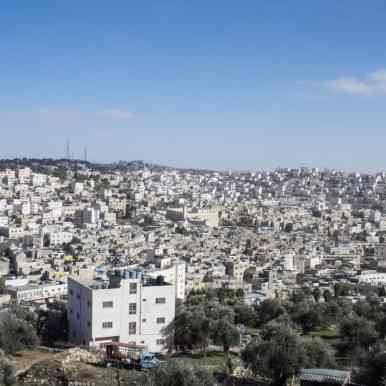 View from Hebron Observatory onto old town and Tomb of the Patriarchs, Hebron, Palestine (2017-01-08)
