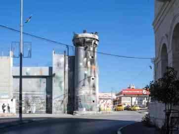 Color bombed watch tower, Bethlehem, Palestine (2017-01-11)