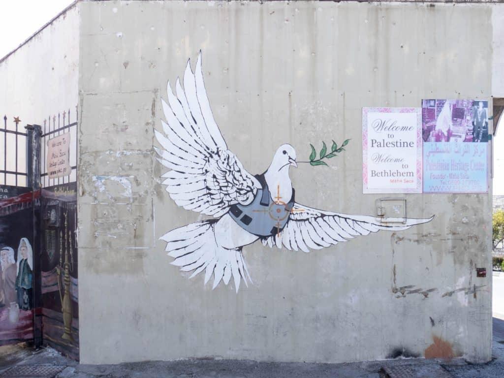Banksy: Armored Dove, Bethlehem, Palestine (2017-01-11)