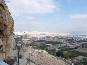 View from St George Monastery with cable car, Jericho, Palestine (2017-01-15)
