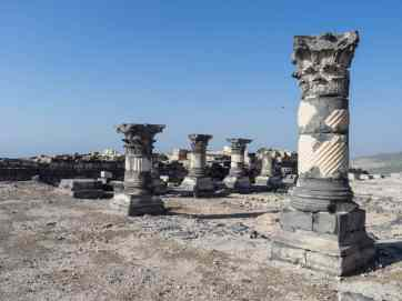 Rebuilt pillars in Sussita Hippos, Sea of Galilee, Israel (2017-01-18)