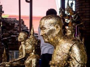 Gilded Buddha at Wat Chaimonkhon, Ayutthaya, Thailand (2017-04)