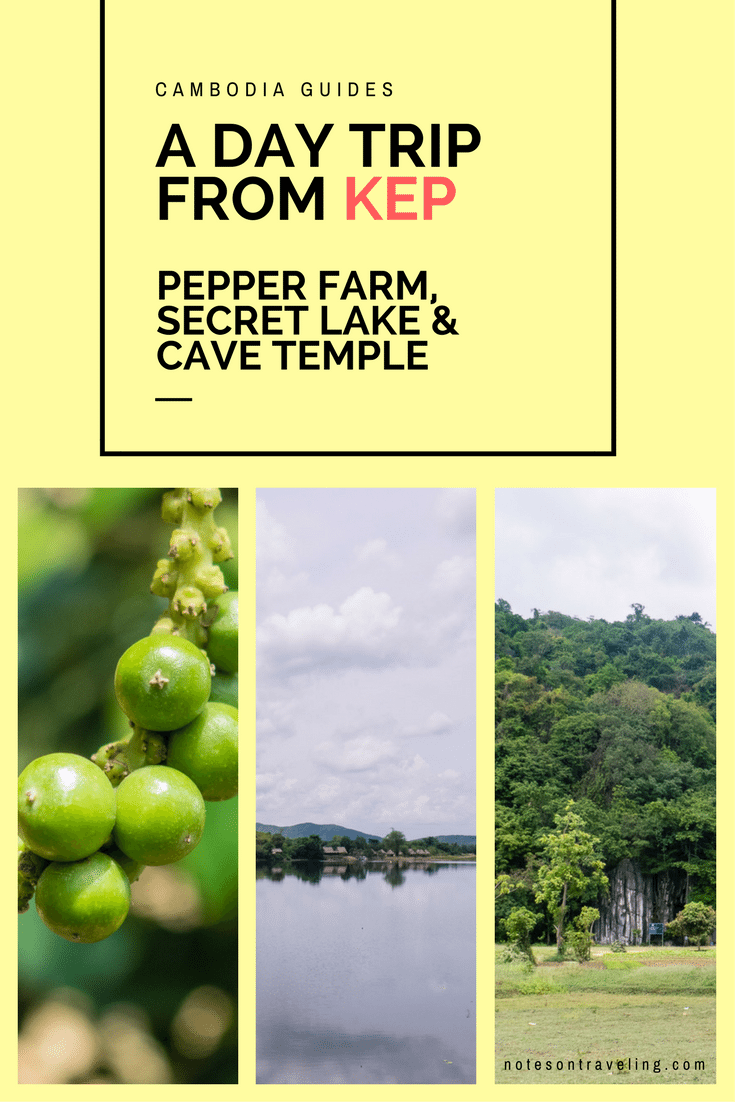 Follow me on a day trip from Kep, Cambodia, to the La Plantation Kampot Pepper Farm, Secret Lake, and Phnom Chhngok Cave Temple. #travelguide #backpacking