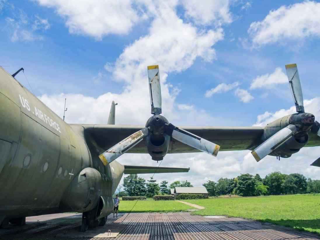 DMZ Tour: Left behind US airforce plane at Khe San base, Vietnam (2017-06-26)